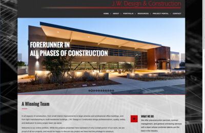 JW Design & Construction Website Designer - Construction Firm Web Design Firm - Studio 101 West Marketing & Design - Central Coast Website Builders