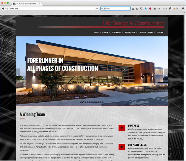 JW Design & Construction Website Designer - Construction Firm Web Design Firm - Studio 101 West Marketing & Design - Central Coast Website Builders