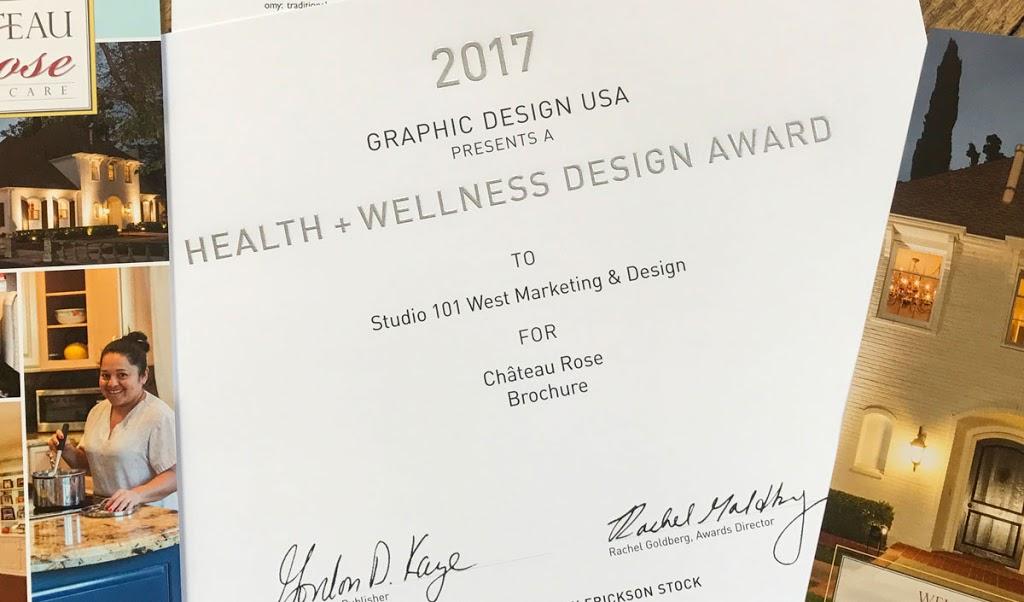 Winner of 2017 Heal and Wellness Design Award - Studio 101 West Marketing & Design - Chateau Rose Assisted Living Brochure