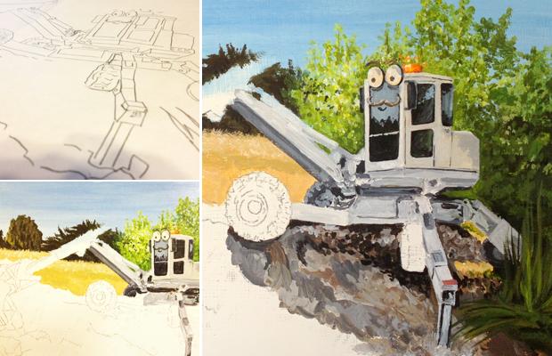 Spider Excavator - StrolesTriService - West Coast Excavation - Atascadero Illustration & Graphic Design