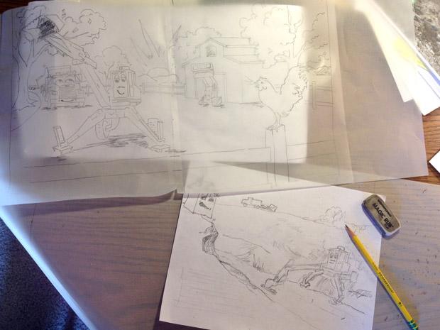 Childrens' book Illustration sketches - Atascadero Illustration & Graphic Design - Studio 101 West - Excavator